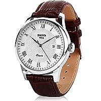 メンズクォーツ腕時計、ローマ数字ビジネスカジュアルファッションアナログ腕時計クラシックカレンダー日付ウィンドウ、防水30M防水快適なPUレザーWatches–ブラウン Silver border
