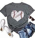 SUPEYA Women Heart Baseball Print Shirt Casual Short Sleeve Pullover Tees T-Shirt Size