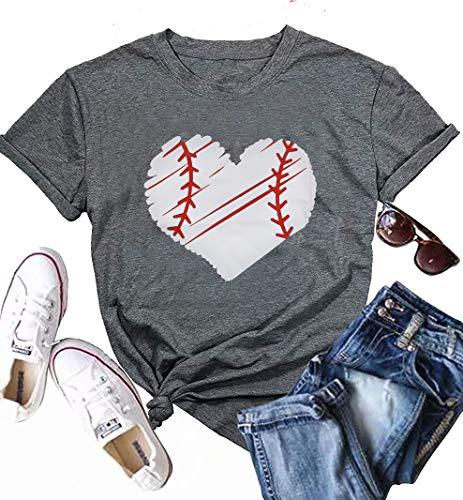 Cute Baseball Tee Shirts for Women Short Sleeve Crew Neck Graphic Tee Shirts Top…