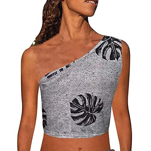 Camisetas de verano para mujer, sin mangas, con estampado de damas, sin mangas, con un hombro, para verano, sexy, tallas grandes, talla grande