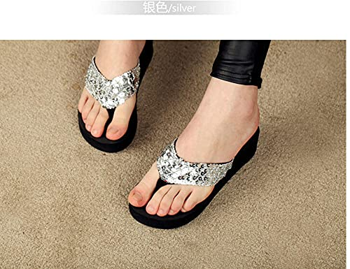 xinghui Chanclas para Mujer Paño de Lentejuelas con Zapatillas de Verano Zapatos de esputo Playa Deslizadores antideslizantes-2218 - Lentejuelas de Plata_37