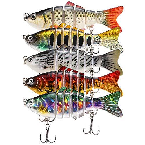 Lixada 5Pcs Fishing Lure Set with Storage Box Multi Jointed Segment Swimbait Lifelike Hard Bait Crankbait Treble Hooks for Bass Perch Trout