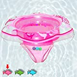 Baby Swimming Ring Floats with Safety Seat Double Airbag Swim Rings for Babies Kids Swimming Float Baby Floats for Pool Swim Training Aid Kids PVC Pool Floats for Toddlers of 6-12 Months - Pink