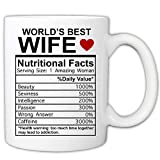 MyCuppaJoy Valentines Day Mug For Wife - World's Best Wife Nutritional Facts 11 Ounce Novelty Coffee Mug