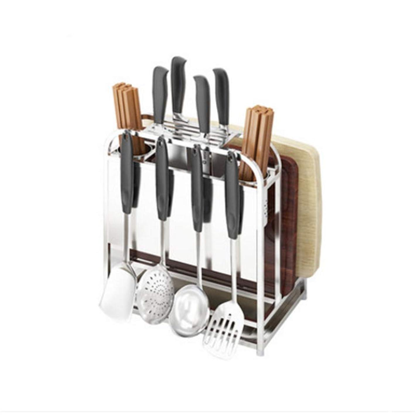 ペダル瞬時に牛フック付きチョッピングナイフオーガナイザー、ステンレススチール製キッチン用品、耐久性、防錆、まな板、箸、スプーン、フォーク、カトラリー収納ラック