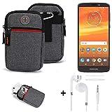 K-S-Trade® Gürtel-Tasche + Kopfhörer Für -Motorola Moto E5 Plus Dual-SIM- Handy-Tasche Schutz-hülle Grau Zusatzfächer 1x