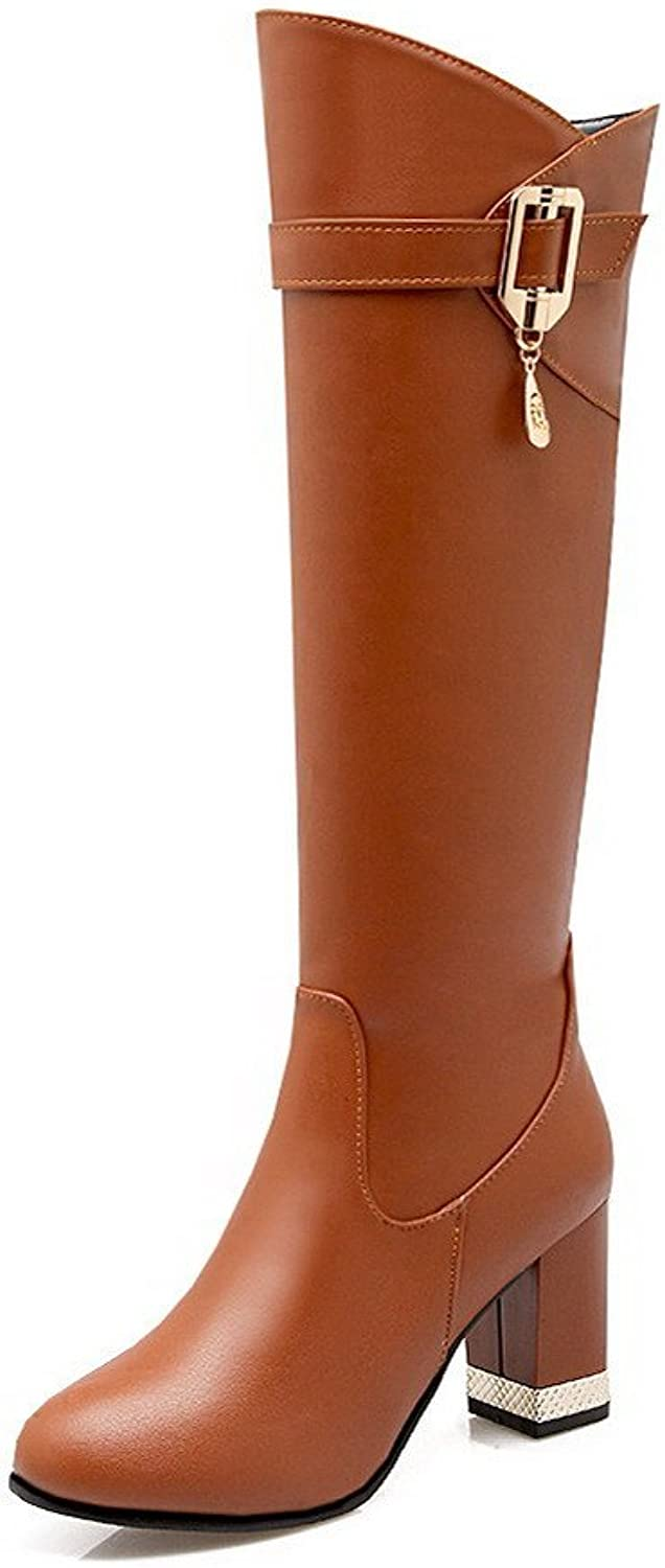 WeenFashion Women's Mid Top Solid Zipper Round Closed Toe High Heels Boots
