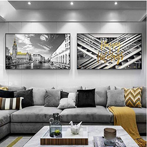 ELMSART modern schilderij in wit en zwart decoratie huis stad deur geel canvas schilderij wandschilderijen voor woonkamer poster 40 x 70 cm x 2 zonder lijst