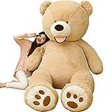 AMIRA TOYS ぬいぐるみ 特大 くま テディベア 可愛い熊 動物 大きい くまぬいぐるみ クマ 抱き枕 お祝い ふわふわぬいぐるみ 熊縫い包み クマ 抱き枕 お祝い ふわふわ お人形 女の子 男の子 子供 女性 抱き枕 プレゼント インテリア ビッグサイズ 3色選択 (ブラウン, 160cm)