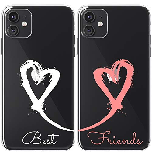 Mertak TPU Couple Cases Compatible with iPhone 12 Pro Max Mini 11 SE Xs Xr 8 Plus 7 6s BFFs Love Design Best Friends Protective Flexible Hearts Painted Anniversary Stroke Valentines Soulmate Matching