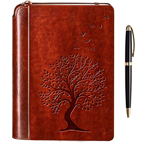Tree of Life Writing Journal by Settini, Hardcover Faux Leather Notebook for writers, Travel Journal Lined, Personal Diary. Gift Set: unique journal with luxury pen.