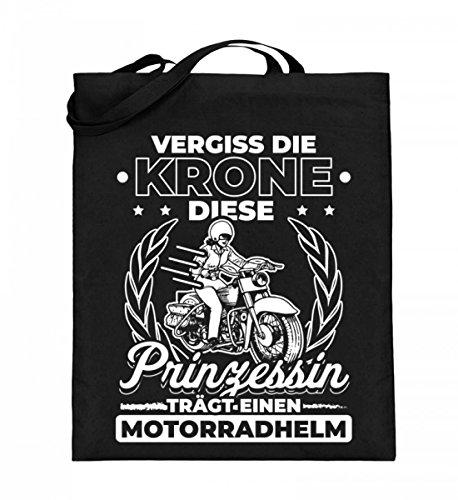 Chorchester Princesa lleva un casco de moto. Bolsa de yute (con asas largas)., color Negro, talla 38cm-42cm