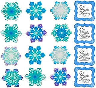 Snowflakes Edible Assortment Decorations Cupcake & Cake Toppers Blue - 12 Count with Snowflakes Stickers