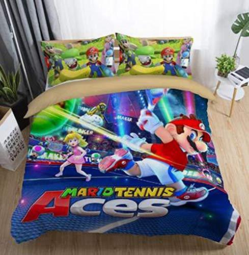 WTTING Mario Juego de cama con funda de edredón y funda de almohada 3D Mario Game Print, microfibra, funda de edredón y fundas de almohada, para adultos niños y niñas (T,200 x 200 cm)