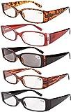 Eyekepper Spring Hinge Plastic Reading Glasses (5 Pack Mix) Includes Sunglass Readers Women