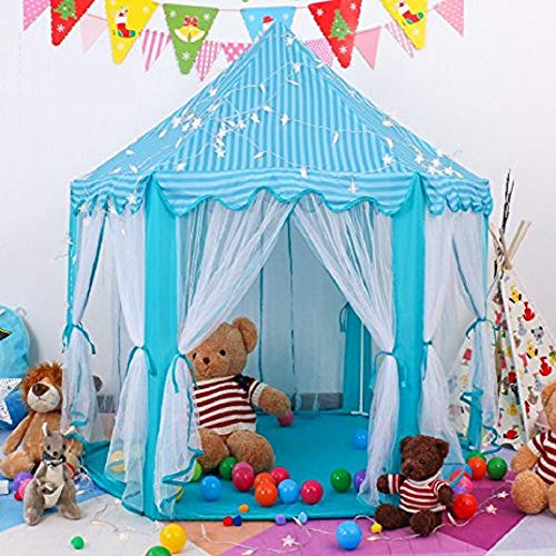 "porpora Kids Indoor/Outdoor Tent Fairy Princess Castle Tent, Portable Fun Perfect Hexagon Large Playhouse Toys for Girls 55""x 53""(DxH) Blue with LED lights"