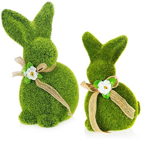 com-four® 2X Figure Decorative Coniglietto Pasquale con Fiocco - Figura di Coniglio in Ceramica Verde - Decorazione Pasquale [la Selezione Varia] (2 Pezzi di Coniglio 17 + 20 cm Verde)