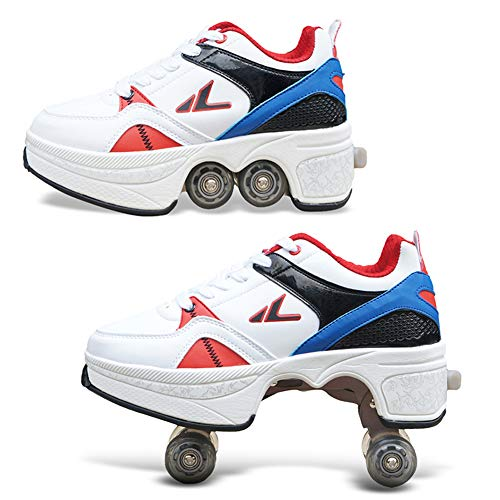 HealHeatersR Skate-gymschoen met wieltjes, voor volwassenen, verstelbare quadrolschaatsen, sportschoenen, kleur wit