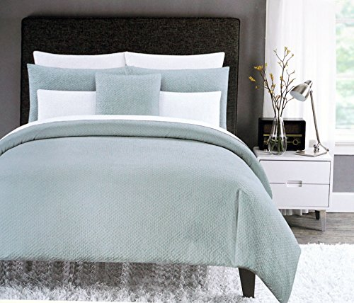Cynthia Rowley Bedding 3 Piece Full / Queen Duvet Cover Set Solid Gray Retro Textured Mini Bubble Ruched Rustic Country Farmhouse Pattern