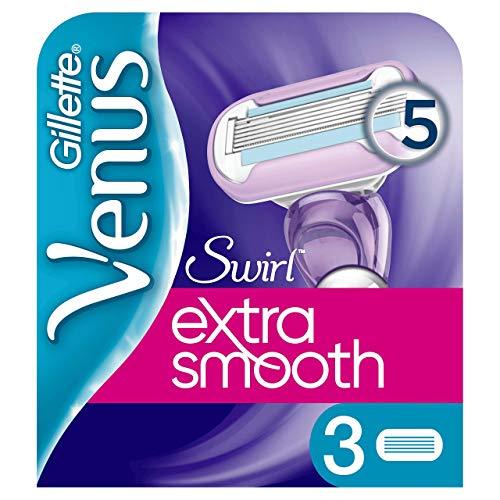 Gillette Venus Extra Smooth Swirl Rasierklingen Damen mit Feuchtigkeitsstreifen für Hautschutz, 3 Ersatzklingen