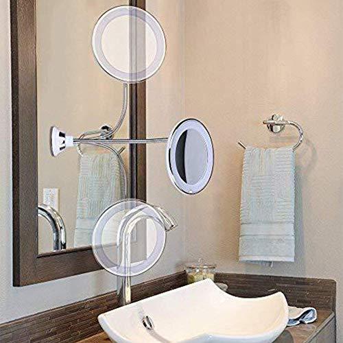QTMHT Make-up Spiegel Flexibele Zwanenhals 10x Vergroting Led Zuignap Rond 360 Graden Roterende Badkamer Spiegels