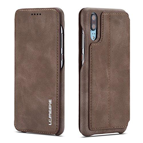 Huawei P30 Hülle, Premium PU Leder Handyhülle Ultra Dünne Ledertasche Magnetverschluss Standfunktion & Kartenfach Wallet Case Flip Schutzhülle für Huawei P30 - Braun