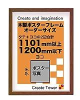 木製ポスターフレーム 和彩 お好きなサイズに加工 オーダーサイズ タテ+ヨコの長さ合計 1101以上 1200mm以下 (ブラウン)