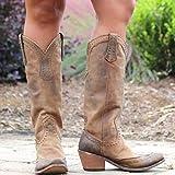 Sallypan Frauen-Weinlese-Westernstiefel Cowboystiefel Kunstleder Hohe Stiefel Dampf-Punk-Bolzen-Piraten-Boot Distressed Schuhe,Lightbrown,43