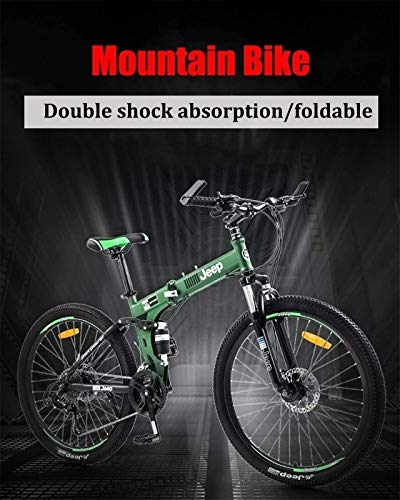 HCMNME Durable Bicycle, Mountain Bike Folding Bikes, 26Inch 24-Speed Double Disc Brake Full Suspension Anti-Slip, Lightweight Aluminum Frame,Double Shock Absorption Suspension Fork (Color : Red)