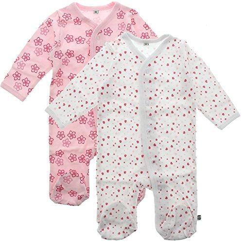 Pippi 2er Pack Baby Mädchen Schlafstrampler mit Aufdruck, Langarm mit Füßen, Alter 18-24 Monate, Größe: 92, Farbe: Rosa, 3821