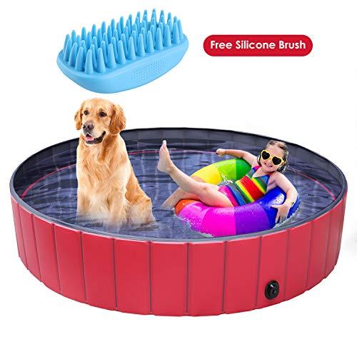 pedy Dog Swimming Pool Collapsible Pet Bath Pool Foldable Bathing Tub Kiddie...