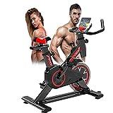 Excersize Bicicleta estacionaria, Spin Indoor Sunny Health & Fitness Bicicleta de Ciclismo con sensores de Pulso de Mano, Dispositivo de Entrenamiento aeróbico de piernas con Sopor