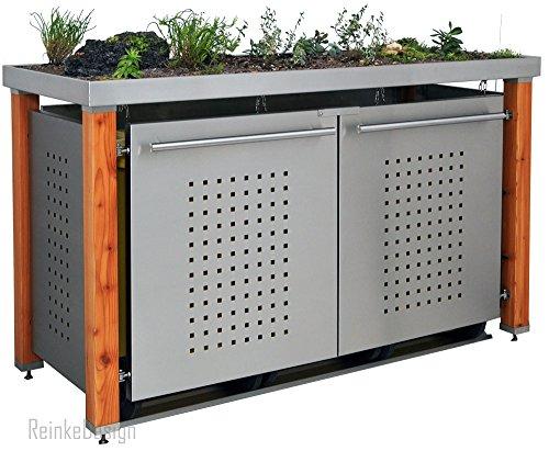 Vuilnisbakken met plantenbak & houten palen 3x120L