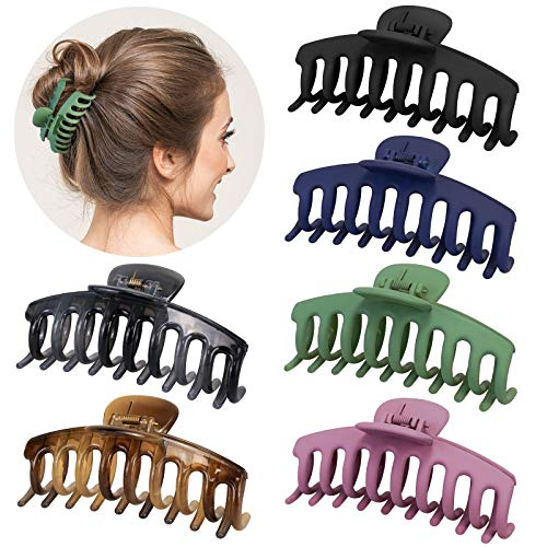 Big Hair Clips, 4.3 Inch Hair Claw Clips, Nonslip Large Hair Clips for Thick Hair, Matte Jaw Hair Clips for Women Girls, Pastel Long Claw Hair Clips with Strong Hold, 6 Color Available, 6 Count