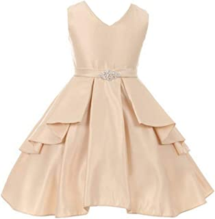0556d0fcb5f Little Girls Dull Satin Overlays Brooch Sash V Neck Easter Flower Girl Dress