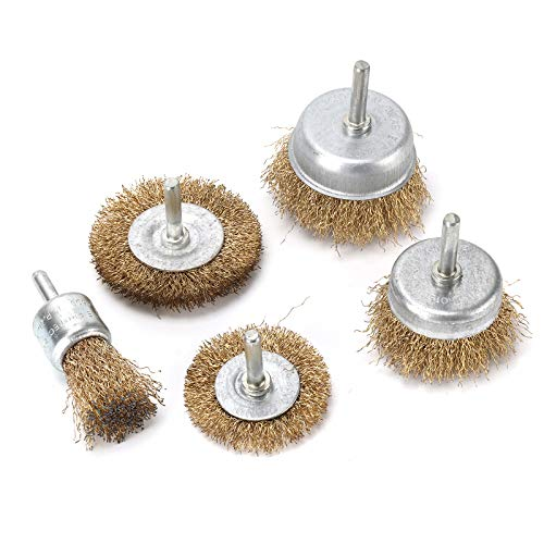 KingSaid Set of 5 Wire Wheel and Cup Brush Set for Drill Attachments Deburring Rust Edges Removal