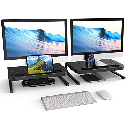 Monitor Stand Riser, MaxGear 2 Pack Computer Monitor Stand for Laptop, Computer, iMac, PC, Printer, Double Desk Monitor Stand with Vented Metal Platform, Desk Stand for Keyboard Storage, Black
