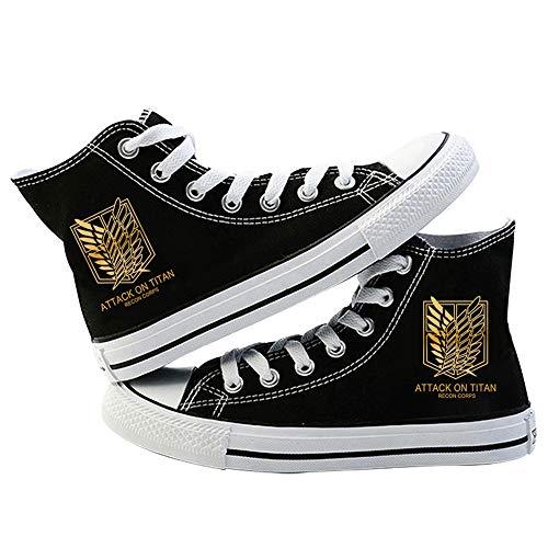 LKKOY Parcial Attack on Titan Lona High-Top Zapatos Casuales Talla Grande Zapatillas De Mujer Zapatillas De Deporte Zapatillas Altas,Black 37