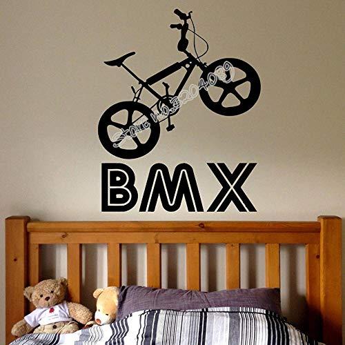 Fiets muurbeugel creatieve sport fiets springen kamer sticker vinyl afneembare muurdecoratie EA042 @ white_56x72cm