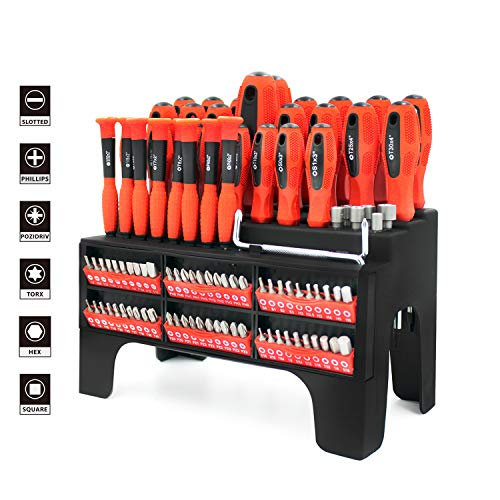 B Bochamtec 100-PC Magnetic Screwdriver Set with Organizer Rack,screwdriver organizer, for Home Repair,Improvement,Best Tools for Men Tools Gift