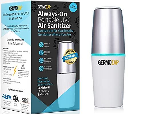 GERMOZAP VIRAL AIR SCRUB UV Air Purifiers for Home, Air Purifier for Viruses and Bacteria, Pet Odor Eliminator for Home, Car Smell Air Freshener, Closet Deodorizer Freshener, Bathroom Odor Eliminator