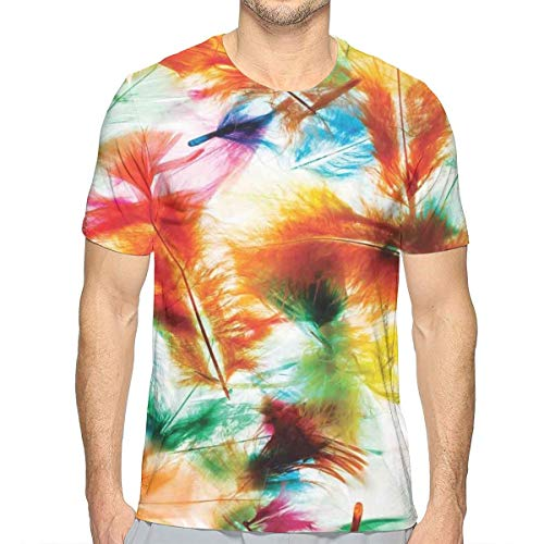 3D Printed T Shirts,Psychedelic Blurry Mix of Feathers Pure Energy of Love and Life Wing Art Icons,Mens Casual Short Sleeve Fashion Summer T-Shirt,Size:XXL