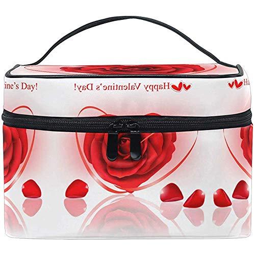 Rubans Rouges Maquillage Sac Rouge Rose avec Cadeau Sac Cosmétique Trousse De Toilette Portable Zip Brosse Sac Organisateur De Stockage