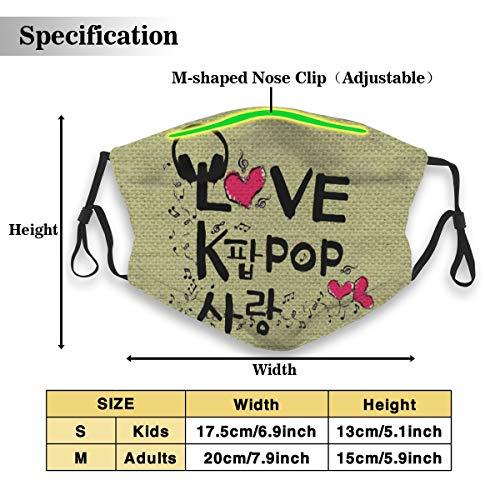 Gezonde herhaalbare stofdichte winddichte motorfiets masker Love K Pop Music Unisex maskers voor het voorkomen van bacteriële stof M(Adults) Kleur: wit