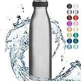 """720°DGREE Borraccia Termica Acciaio Inox """"milkyBottle"""" - 1 litro - Senza-BPA, Isolato Sottovuoto, Doppia Parete, A Prova di Perdite Anche per Acido Carbonico - Bottiglia Termos"""