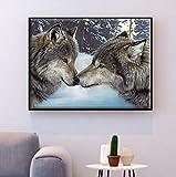 Set de bordado tapiz'Animal lobo' 40x50cm set de bordado en punto de cruz.Incluyendo hilo de algodón multi-filamento cod.746