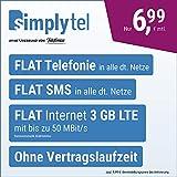 simplyTel LTE 3000 – sin Tiempo de contratación (Flat Internet 3 GB LTE con máx. 50 Mbit/s con Datos desactivables automáticos, telefonía Flat, SMS y Extranjero de la UE, 6,99 Euros/Mes).