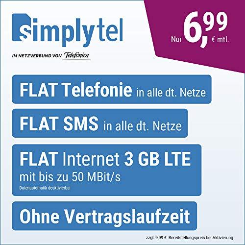 simplyTel LTE 3000 – sin Tiempo de contratación (Flat Internet 3 GB LTE con máx. 50 Mbit s con Datos desactivables automáticos, telefonía Flat, SMS y Extranjero de la UE, 6,99 Euros Mes).