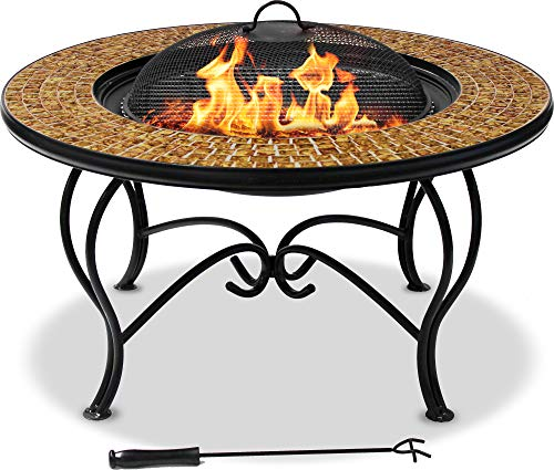 MDA Designs STERLING Premium Garden & Patio Fire Pit, Coffee Table, Barbecue and Ice Bucket Completed with Golden Glass Mosaic Tiles
