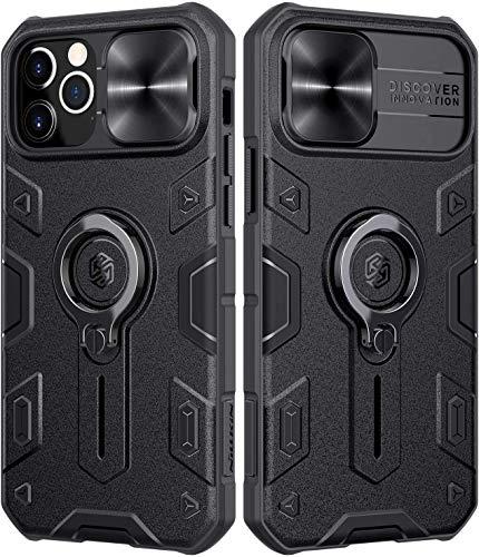 NILLKIN Funda Compatible con iPhone 12/12 Pro, Funda con Funda Deslizante para Cámara, PC y Funda Protectora TPU Resistente a Golpes con Soporte para Anillo Compatible con iPhone 12/12 Pro 6.1'-Negro